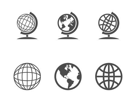 world globe map: Globe icons. Vector illustration. Illustration