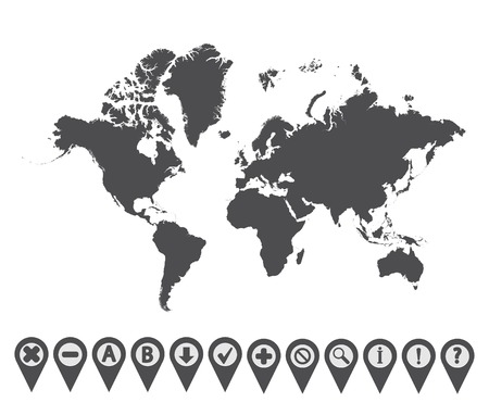 Map with Navigation Icons.   Vector