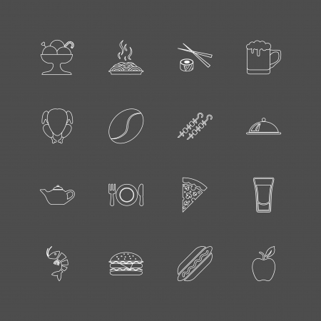 Food Outline Icons For Web. Vector illustration. Vector