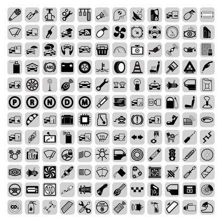 piezas coche: Iconos de la pieza del coche fijados. Vectores