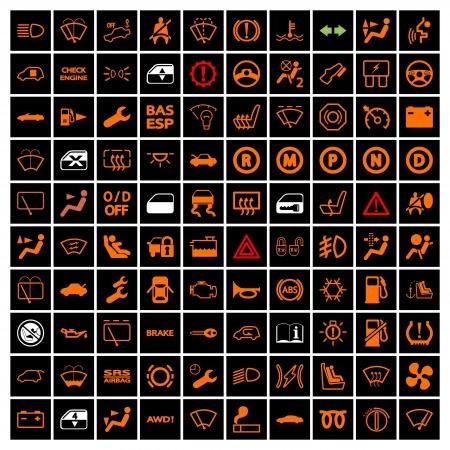 Auto Dashboard Pictogrammen. Vector illustratie.