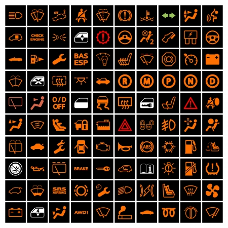 headlights: Car Dashboard Icons. Vector illustration.