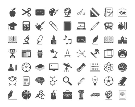 Education icons. Vector illustration..