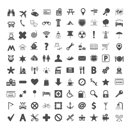 Navigation map icons set. Vector illustration. Vector
