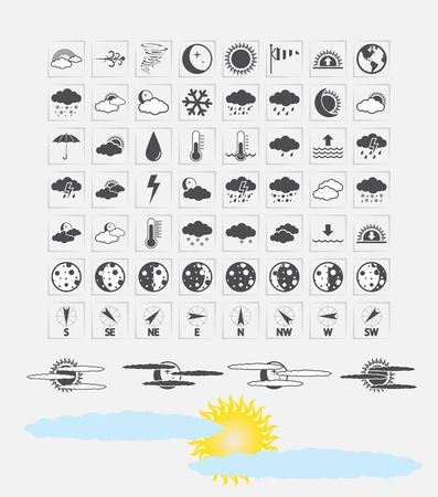 Weather Icons for day and night forecasting, for web and print applications. Vector illustration. Vector