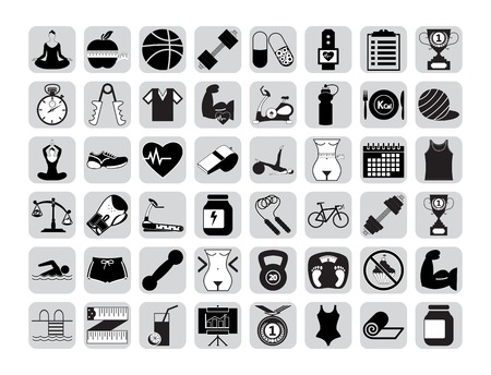 Professiona fitnessl icons for your website. Vector illustration.