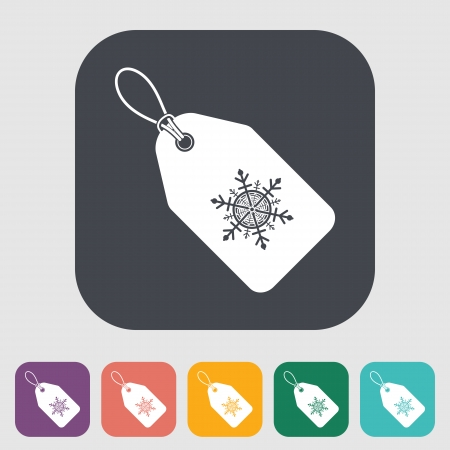 tag: Christmas tag. Single flat icon on the button. Vector illustration.