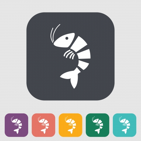 shrimp: Shrimp. Single flat icon on the button. Vector illustration.