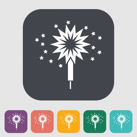 bengal light: Sparkler. Single flat icon on the button. Vector illustration.