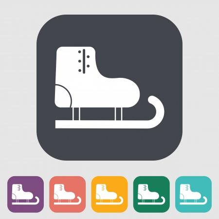 racing skates: Racing skates. Single flat icon on the button. Vector illustration.