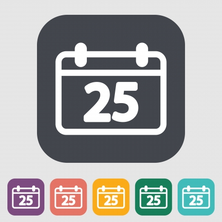 Calendar. Single flat icon on the button. Vector illustration.