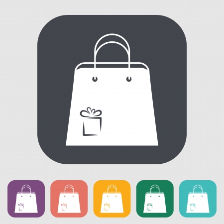 paperbag: Holiday bag. Single flat icon on the button. Vector illustration. Illustration