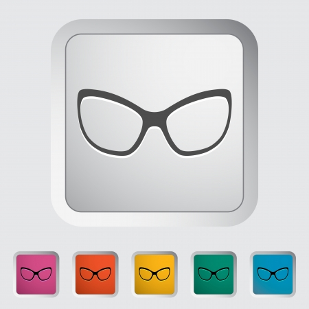 Sunglasses. Single flat icon on the button. Vector illustration. Stock Vector - 24055548