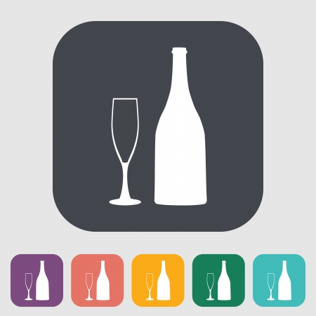 alcohol bottles: Wine glass and bottle. Single icon on the yellow note paper. Vector illustration. Illustration