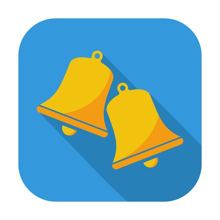 Christmas bell. Single flat icon on the button. Vector illustration. Vector