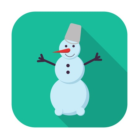 Snowman. Single flat icon on the button. Vector illustration. Stock Vector - 24468276