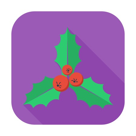 Holly berry. Single flat icon on the button. Vector illustration. Vector