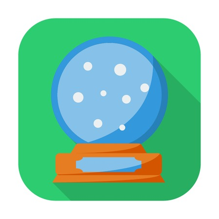 Christmas snow dome. Single flat icon on the button. Vector illustration. Stock Vector - 24510138