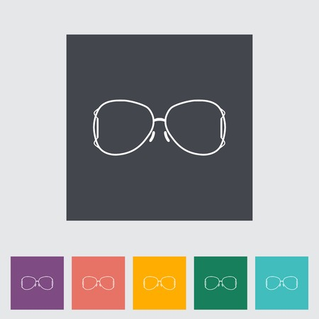 eyewear fashion: Sunglasses. Single flat icon on the button. Vector illustration. Illustration