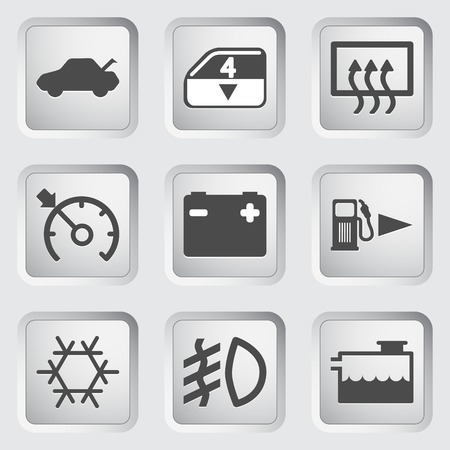 Icons for the control panel of the car. Vector illustration. Vector