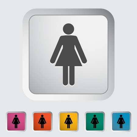 Female gender sign. Single flat icon on the button. Vector illustration. Vector