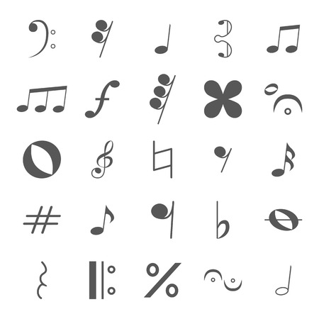 Various musical notes icon set in grey. Vector illustration. Vector