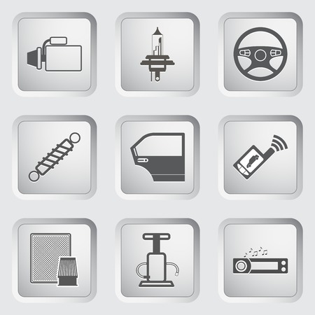 radio beams: Car part and service icons set. Vector illustration.