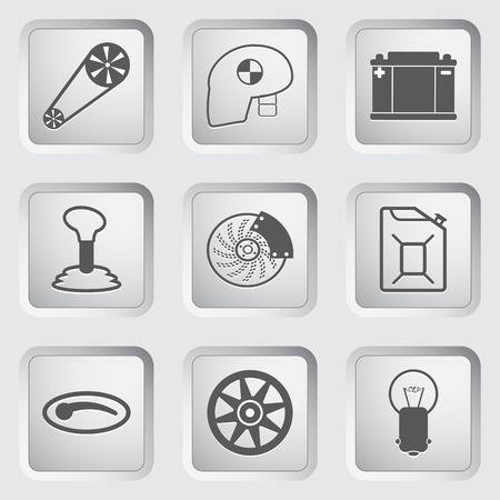 reverse: Car part and service icons set 2. Vector illustration. Illustration