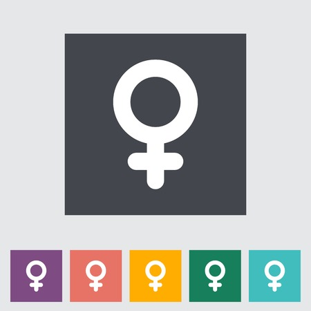 Female gender sign. Single flat icon on the button.  Vector