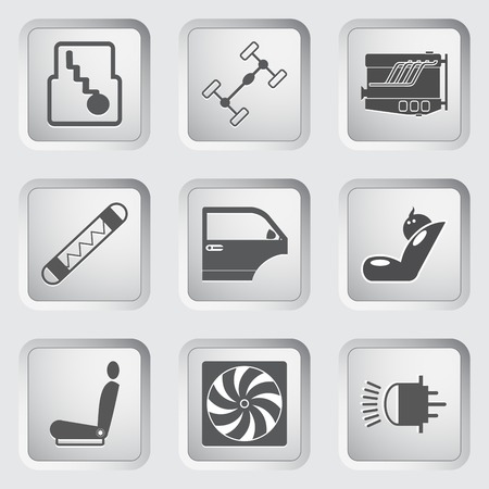 Car part and service icons set 3. illustration. Vector