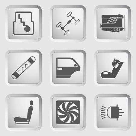 coolant temperature: Car part and service icons set 3. illustration. Illustration
