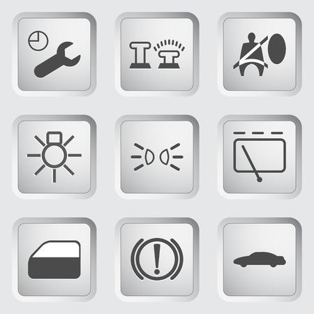 remote lock: Iconos para el panel de control del coche fijaron 3. Ilustraci�n.