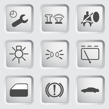 airbag: Icons for the control panel of the car set 3. illustration. Illustration
