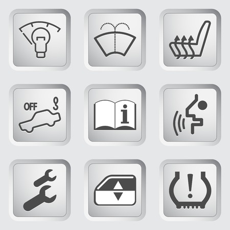windshield wiper: Icons for the control panel of the car set.  illustration.