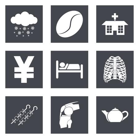 winter barbecue: Icons for Web Design and Mobile Applications set 7. Vector illustration.