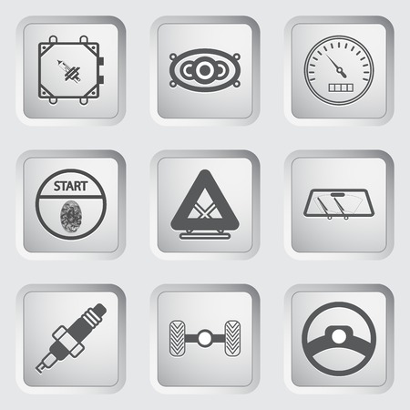 Car part and service icons set 7. Vector illustration. Vector