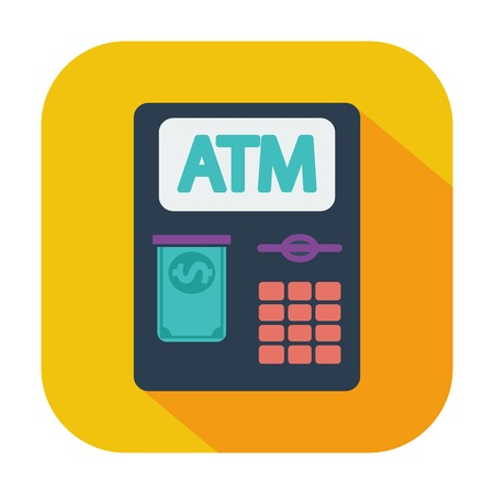ATM. Single flat color icon. Vector illustration. Vector