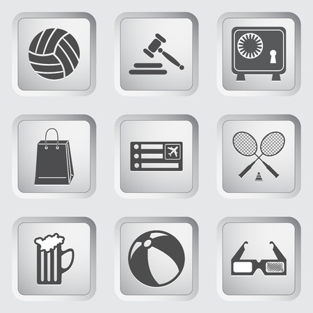 Icons on the buttons for Web Design and Mobile Applications  Vector