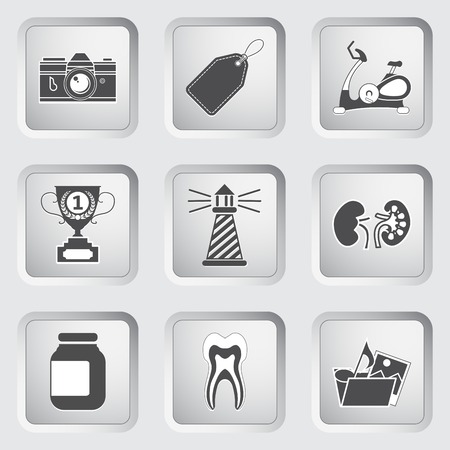 reflex camera: Icons on the buttons for Web Design and Mobile Applications