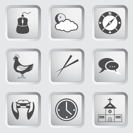 Icons on the buttons for Web Design and Mobile Applications  Illustration