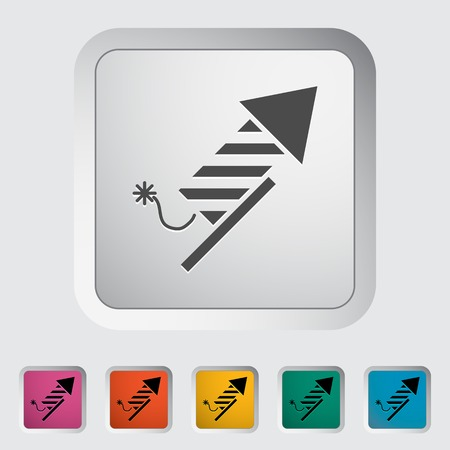 declaration of independence: Firework icon on the button. Vector illustration.