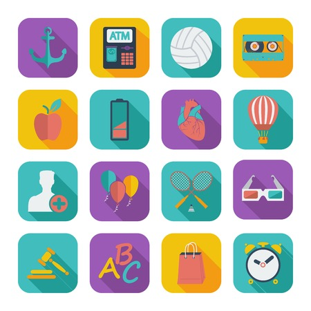 Color flat icons for Web Design and Mobile Applications Vector