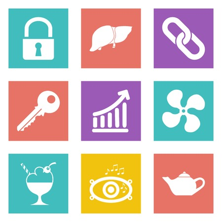Color icons for Web Design and Mobile Applications set Stock Vector - 26775988