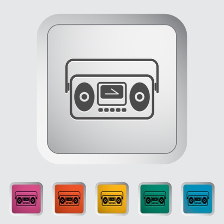 Boombox Single flat icon on the button Vector