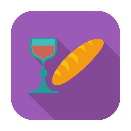 sacraments: Bread and wine single icon illustration.