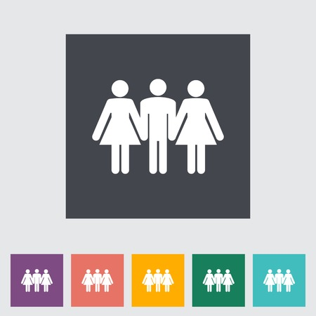 Group sex sign. Single flat icon illustration. Vector