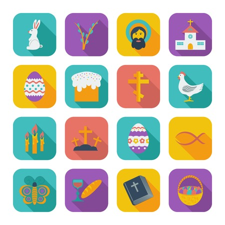 Easter Icons. Color flat illustration.  Vector