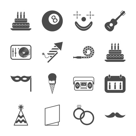 Party and holiday icons. Gray-white set illustration. Vector