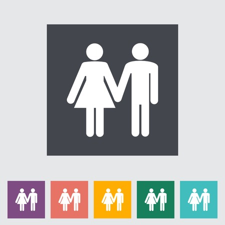 Couple sign. Single flat icon illustration. Vector