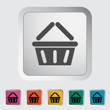 Basket for products. Single flat icon on the button illustration. Vector